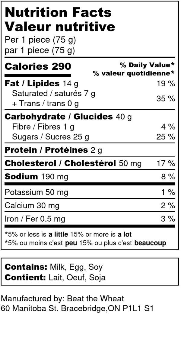 Butter Tarts - Nutrition Label