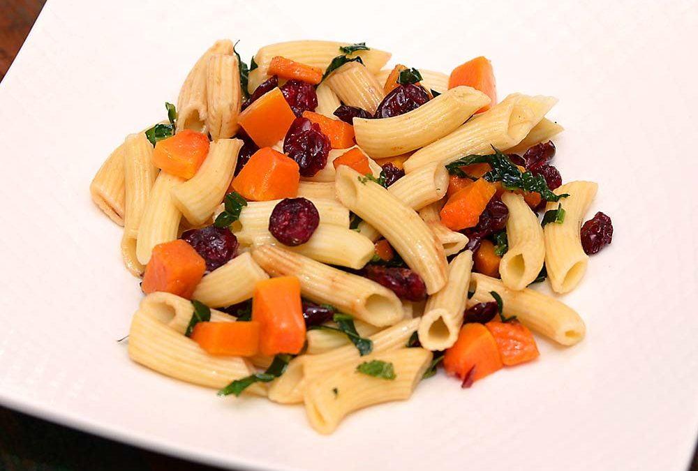 Gluten free Harvest Pasta Salad with Butternut Squash and Cranberry
