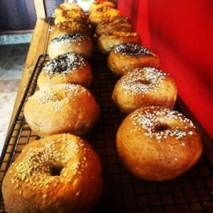 assorted gluten free bagels on shelf