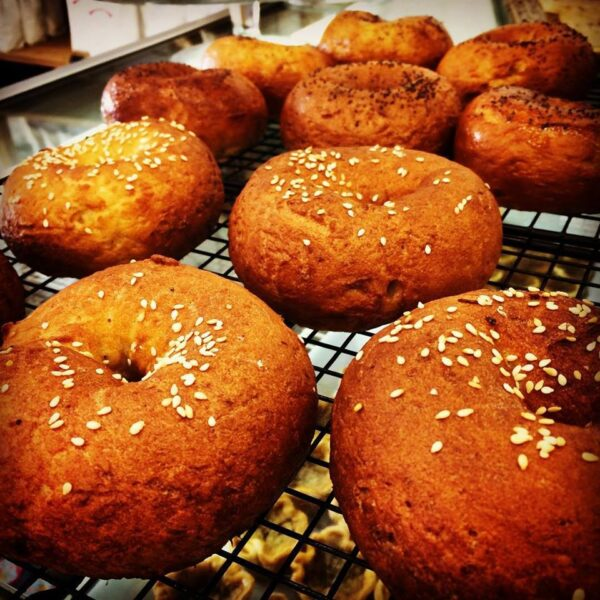 sesame seed gluten free bagels cooling