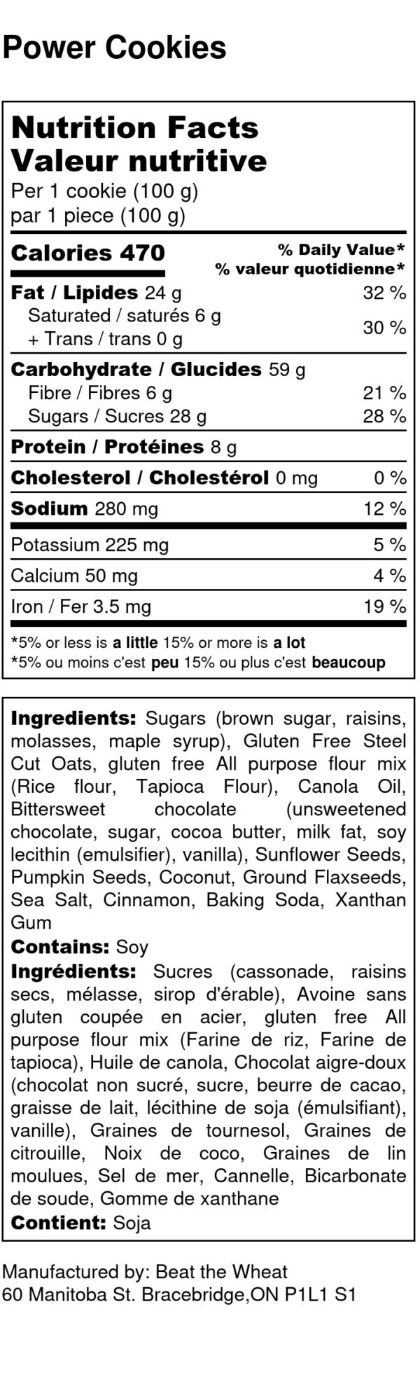 Power Cookies - Nutrition Label